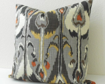 Double sided,  Gray, rust and gold ikat bands decorative pillow cover