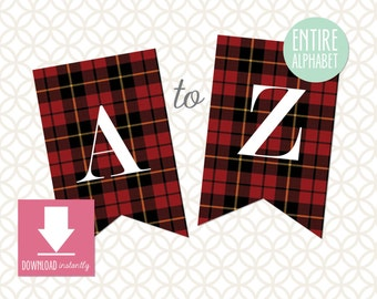 Printable Pennant Banner that includes entire alphabet: Red Tartan Plaid Banner with White Letters (Instant Digital Download)