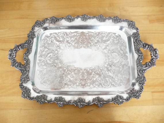 & Antique Silver Plated Tray marked Old English Reproduction