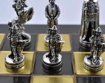 Medieval Chess Set (38X38cm)/Bronze chess board