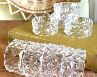 Vintage Clear Lucite Napkin Rings, Beveled Design, Set of 8, Round Napkin Holders