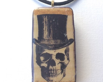 Halloween jewelry Halloween necklace gothic vintage necklace skull top hat black