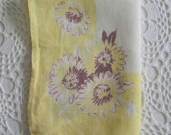Yellow Daisy Mid Century Linen, Guest Hand Towel, Large Handkerchief
