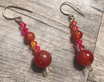 Amber colored agate gemstone with Swarovski fire opal crystals 14k gold filled earrings