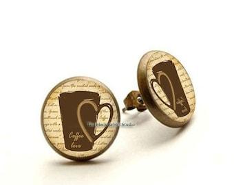 Coffee Lover Earrings, Coffee Stud Earrings, Coffee Jewelry, Coffee Lover Hypoallergenic Earrings