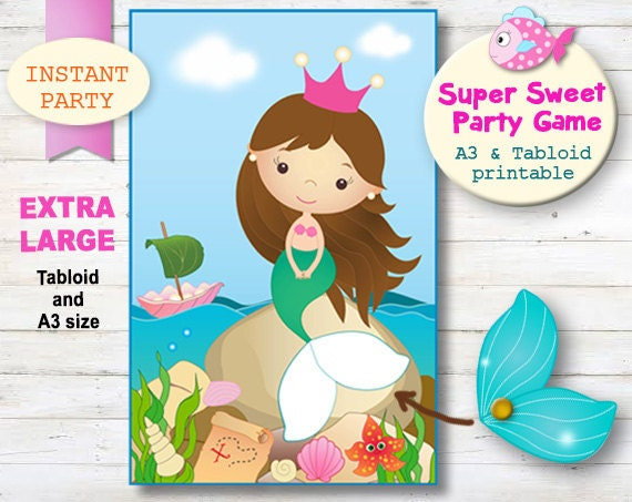 LARGE Instant Download Pin the Tail on the Mermaid.