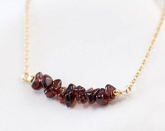 Rough Garnet Bar Necklace, Genuine January Birthstone Necklace, Raw Stone Necklace, Gemstone Bar Necklaces, Beaded Bar, Minimal Layering