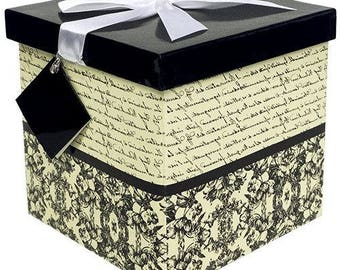 Gift Box Florence Pop up in Seconds comes with Decorative Ribbon mounted on the lid A Gift Tag and Tissue Paper - No Glue or Tape Required