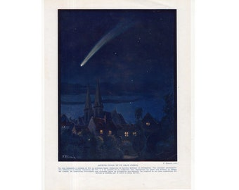 c. 1928 COMET PRINT - original vintage astronomy print - shooting star - falling star - celestial pint - path of a comet