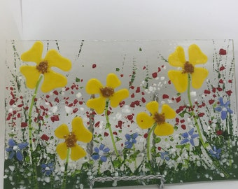 Fused glass wild flowers