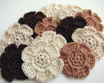 Crochet Flower Appliques - 6 Petal, Flat, Small Flowers in Pretty, Neutral Colors - 12