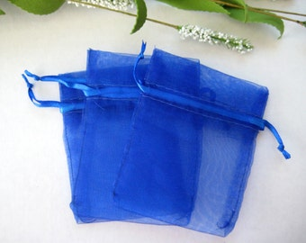 """3"""" x 4"""" Royal Blue Organza Bags for Party Favors, Baby Shower Favors, Gift Bags, Saches, Wedding Favor, Jewelry, 10 pieces"""