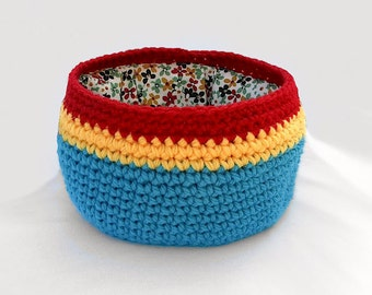 Fabric Lined Blue, Red and Yellow Crochet Bowl/Basket with Flowers