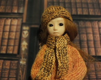 Handmade Blythe / Azone / Obitsu / Barbie doll set coat hat scarf