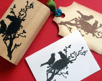 Birds and Nest Silhouette Rubber Stamp Photopolymer - Handmade by BlossomStamps