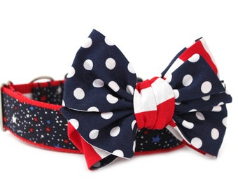 Dog Collar Bow Add-On Patriotic Bow for Dogs Matching Dog Bow Dog Collar Summer Dog Bow