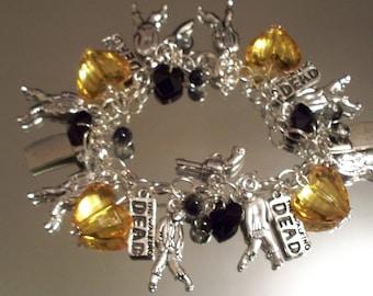 "HALLOWEEN Bracelet, ""WALKING DEAD"", Hobbeedesigns, Free Shipping, Zombies, Autumn, Charms, Fall Bracelets, Pumpkins, Orange, Black, Jewelry"