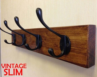 Wooden Coat Rack Vintage Reclaimed Handmade Cast Iron Hook Coat Hooks SLIM