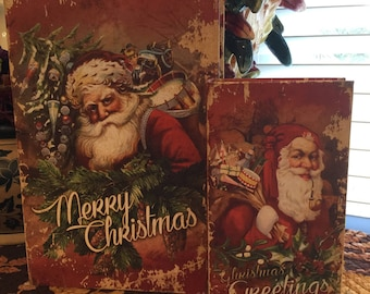 Books (fake) storage covered with Santa/Christmas Designs great holiday decor!