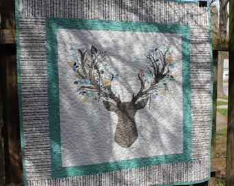 Green and Gray Stag Baby Quilt // Nature Quilt // Toddler Quilt // Baby Shower Gift // Baby Gift // Stag Head Quilt
