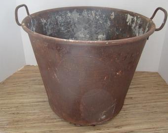 Antique Metal Rusty Bucket/ Advertising Bucket / Primitive Bucket/ Farmhouse Decor/ Primitive Decor/ Rustic Decor/ Cast Iron Bucket