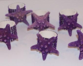 Knobby Starfish Napkin Rings Set of 8 Purple