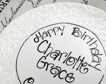 Personalized Birthday Plate in White with Flowers
