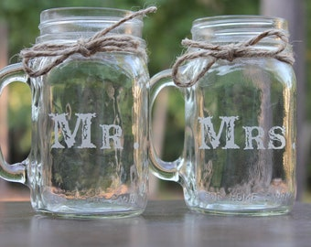 2 Personalized Mason Jar Mugs, Custom mason jar mugs, Engraved mason jar mugs, Mr and Mrs Mason Jar Mugs, Couple mason jar mugs, Keepsake