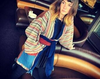 The Portland Kimono handwoven wool textile- Medium  (fits up to size12)