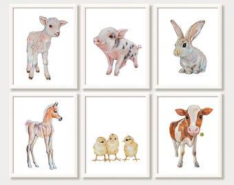 Baby Animal Prints Farm Nursery Decor Wall Art Set of 6 Prints Pictures for Baby Room Girl Boy Nursery Art Farm Animal Watercolor Paintings