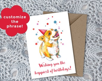 Customizable Celebration Corgi Card || For Corgi Lovers || Printable PDF