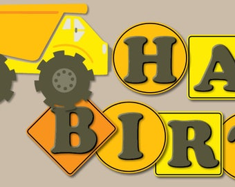 Construction Birthday Banner and Party Decorations - Package, Invitations, Banner, Cake Topper, Cupcake, Favor Tags