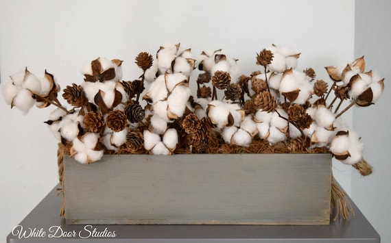 Rustic Wood and Cotton Centerpiece