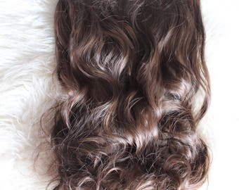 Hair Extensions Clip In Wavy 7 Piece High Quality Silk  Synthetic 20 Inch  (50cm) 8# Medium Brown