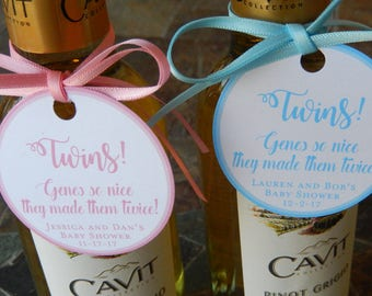 """40 - Baby Shower custom 2"""" Thank You Favor Tags - Twins Shower Genes So Nice - for your Mini Wine or Champagne Bottles - Mason Jar Gifts"""