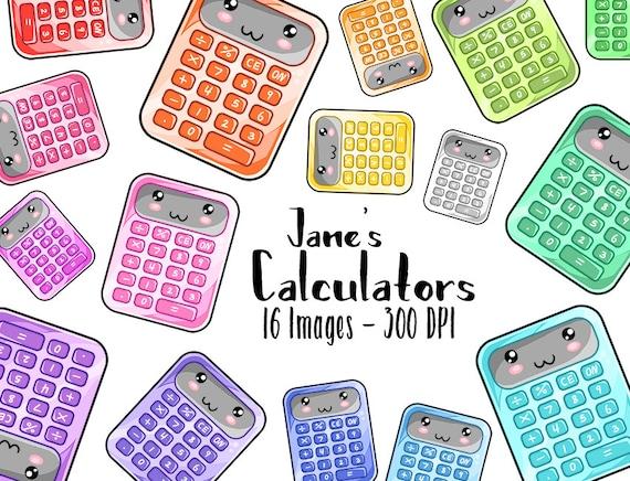 Kawaii Calculator Clipart - Math Download - Kawaii School Supplies Design  Download - Colorful Cute Classwork from DigitalArtsi on Etsy Studio