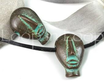 25%OFF Greek Cycladic Pendant Male Neolithic Idol charm Man Men Primitive Ancient symbols Green Patina Mykonos beads Kouros Head Casting