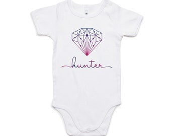 Personalised Onesie | Custom Baby Clothes | Geometric Diamond Design | Ombre Colours | Add Your Own Name