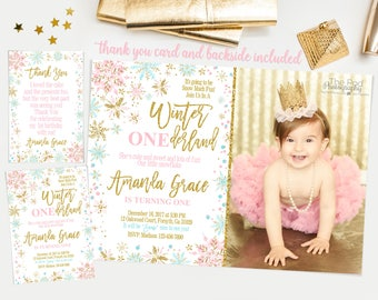 Winter Onederland Invitation girl, Pink and Gold first birthday invitation, Winter onederland Birthday party, snowflakes invitation