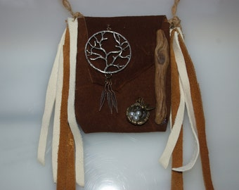 Beautiful Leather Sacred Medicine Amulet Pouch Necklace