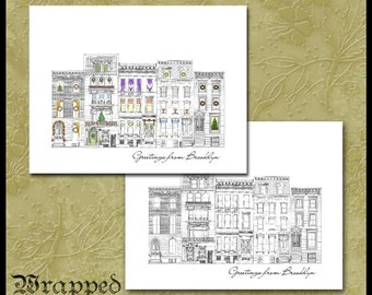 Brooklyn Brownstones Xmas Cards or Note Cards / NYC Stationery / New York City Row House / Set of 10 / Merry Christmas, Holiday Greetings