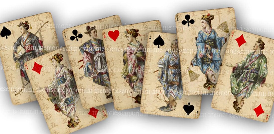 Asiáticos jugando a las cartas Oriental japonesa de papel Digital ...