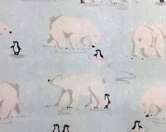SALE - One Half Yard Fabric Material - Polar Bears and Penquins