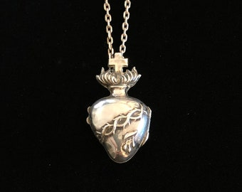 antique french sacred heart ex voto reliquary locket necklace