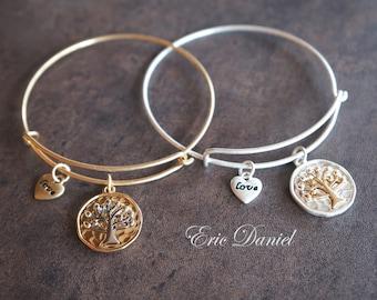 Tree of Life Charm Bangle in Gold, Family Tree Bangle, Family Tree Bracelet, Unity Bangle, Unity Bracelet
