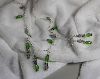 Swarovski, Unique, One of a kind, necklace and earrings, green