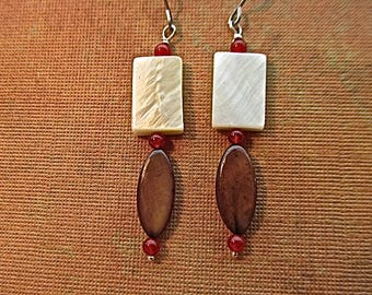 mother-of-pearl and red quartz bead earrings