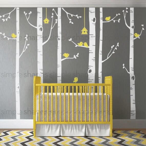 birch tree birds wall sticker set baby nursery wall decals