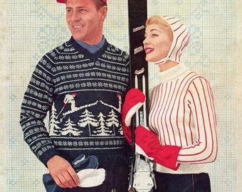 His & Hers Vintage 50s Ski Sweaters - Vintage Knitting Pattern - PDF eBook