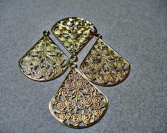 Gold Plated Filigree Chandelier Earring Findings 23x29MM